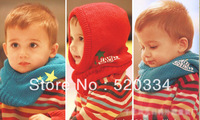 Wholesale 10pcs/lot Knitted Hooded Scarf,Kids Muffler Baby Cap shawls Neck Warm 4 Colors Winter Necessities gift  Free shipping