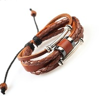 Free shipping Hot sell Male real leather bracelet men multi-layer cowhide personality punk vintage bracelet High quailty