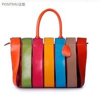 Fashion rainbow 2013 fashion bag patchwork shoulder bag color block women's handbag women's handbag casual handbag