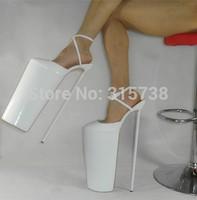 "2015 New Arrival 40CM(16"") heels and 30CM)12"") high platform women's white patent pumps,size 36 37 38 39 40 41 42 43 44 45 46"