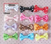 FZ0009 kid's bowtie 30mm*15mm dots printed ribbon bows 300pcs mixed colors garment accessory