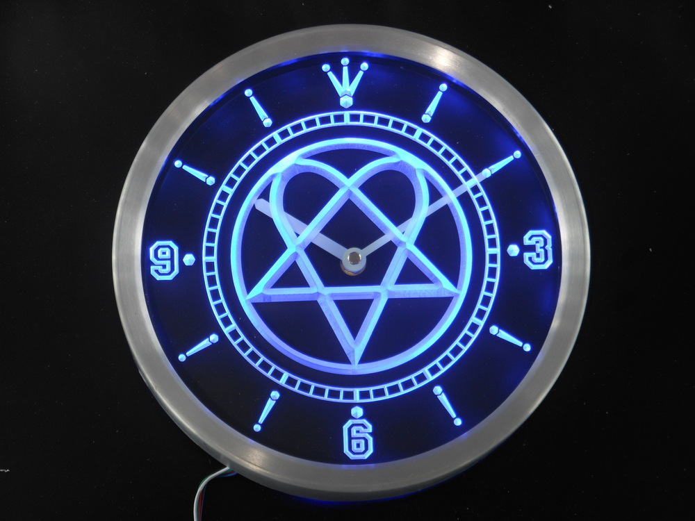nc0166 Him Heartagram Logo Band Neon Sign LED Wall Clock-in Wall ...