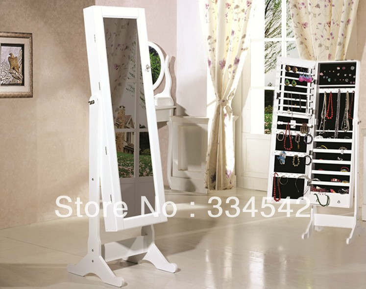 wooden jewelry mirror,white MDFmirrored floor jewelry armoir,dressing mirror with jewelry cabinet(China (Mainland))