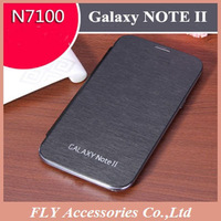 1pcs Freeshiping Battery Housing Flip Leather case For Samsung Galaxy note 2 N7100 with Retail Box+screen protector as gift