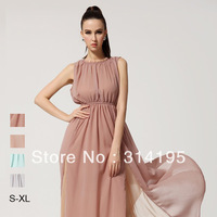 Free Shipping 2013 New Fashion Summer Solid Blue Chiffon One-Piece Dress Backless A-Line Ladies Long dresses  lmds8086
