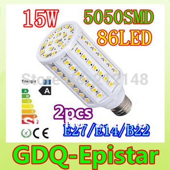 Free shipping 2pcs 15W E14 E27 B22 86LED 5050 SMD110V/220V Corn Bulb Light Maize Lamp LED Light Bulb Lighting White/Warm White
