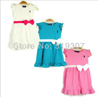 Free Shipping 2013 New Fashion Summer Kids Baby Girls Brand Pink/Blue/White Bow Ruffle Sashes Princess Polo Pony Dresses
