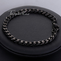 """(Width 3/5/7mm Length 7-11"""") Customized Fashion Mens Boys Stainless Steel Curb Chain Bracelet Black Wholesale Jewelry Gift KBW38"""