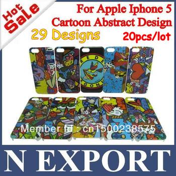 20PCS Hot Selling Art Graffiti Case for Iphone 5 5G 5th Love Fish Bird Frog Flower Girl Heart Cat Plastic Cover CNP HKP [IP5-17]