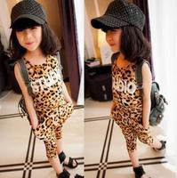 new 2014 fashion letter leopard grain girls clothing set baby & kid t-shirt + pants summer sleeveless o-neck children clothes