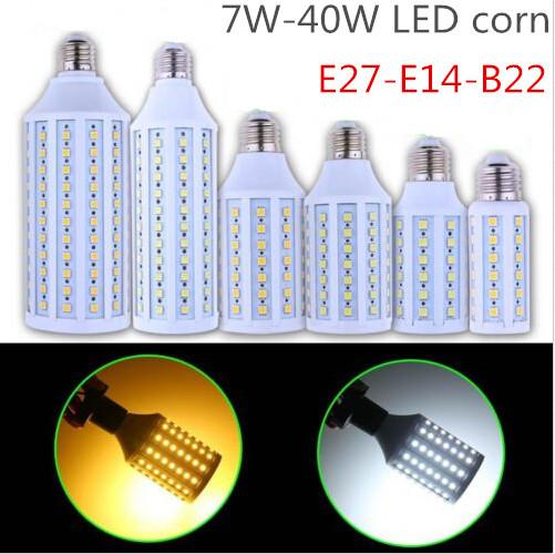 2pcs/lot Super brightness 7W 9W 12W 15W 25W 30W 40W E27 E14 B22 E26 SMD5050 Screw Corn Light 360degree lighting angle led bulb