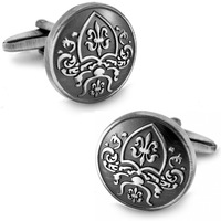 Antic Silver Plated Frosted French Royal Badge Basso-Relievo cufflinks men's Cuff Links + Free Shipping !!! gift metal buttons