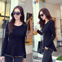 Autunm New Fashion Sexy Womens tunic Long sleeves Fitted Peplum Tops Solid shirts D0006