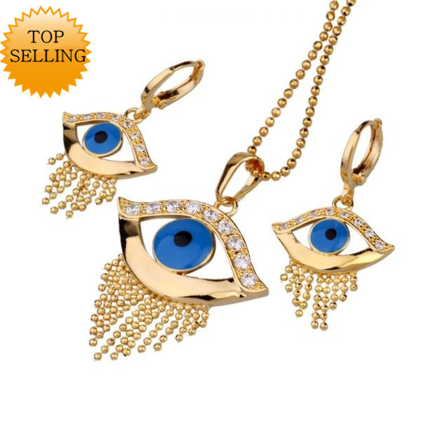 Top Selling 18K Yellow Gold Filled Eyes Jewelry Set Decorated Simulated Diamonds Earrings &amp; Pendant Necklace Free Shipping(China (Mainland))