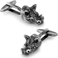 SPARTA Antic Silver Plated 3D Rhinoceros Head cufflinks men's Cuff Links + Free Shipping !!! gift metal buttons