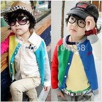 2014  candy color block decoration male girls clothing baby child long-sleeve cardigan sweatshirt t shirts children's t-shirt