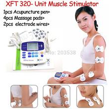 Massageador duplo Dezenas Máquina Digital Com Accupuncture Pen Low Frequency Therapeutic estimulador elétrico Massager Dezenas Massager(China (Mainland))