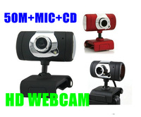 NEW red or black usb webcam  2.0 50.0M Web Cam ,Webcam hd,pc Camera with MIC +CD FOR Computer PC Laptop free shipping