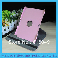 "Free shipping 360 degree rotating Magnetic PU leather stand case for samsung galaxy note 10"" N8000 N8010 stand cover,pink color"
