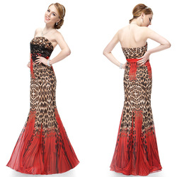 HE09881RD Free Shipping Padded Red Strapless Rhinestone Printed Fishtail Evening Dress(China (Mainland))