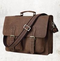 Real Crazy horse Leather Men's Briefcase Laptop men Messenger bags Shoulder men briefcase leather tote vintage men's travel bag