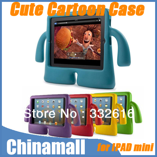 3D Cute Fun Cartoon Kids Friendly Soft Foam Cover Protective Case Stand Holder For Apple iPad Mini Free Shipping + Drop Shipment(China (Mainland))