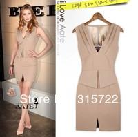 lady fashion Euro closed pockets hip sleeveless V-neck dress, OL lady women elegant fit slim dress A-185