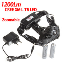 1200 Lumens Zoomable CREE XML T6 LED Headlight Focus LED Headlamp Head light Lamp + 2x 18650 Battery For Bicycle Bike Motorcycle