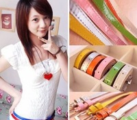 11 Cute Candy Colors Cheap Simple Fashion Elegant Thin PU Leather Belt Accessories For Women Hot Sale Wholesale 2014 PD27