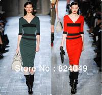 Free Shipping,2013 Top Fashion New Women Fall Half Sleeve Vintage Red Stripe Patchwork BackZipper Mid-Calf Pencil Bodycon Dress