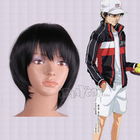Halloween Free shipping [The Prince of Tennis] Ryoma anime wig black short hair high temperature synthetic hair full cosplay wig