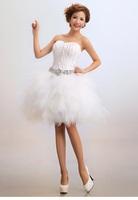 Feather Rhinestone Luxury Women Bride Wedding Dresses Short Design Ball Gown Dress Push Up Prom Dress