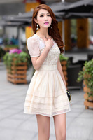 2013 summer white flowers embroidered organza O-Neck women dress