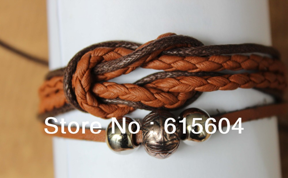 2013 Bracelet Hand made Braided PU Leather Bracelet metal ring brand bracelet for man Wholesales(B-210)(China (Mainland))