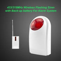 Free shipping!433/315MHz Wireless Flashing siren sensor Alarm working for GSM wireless home security alarm system+