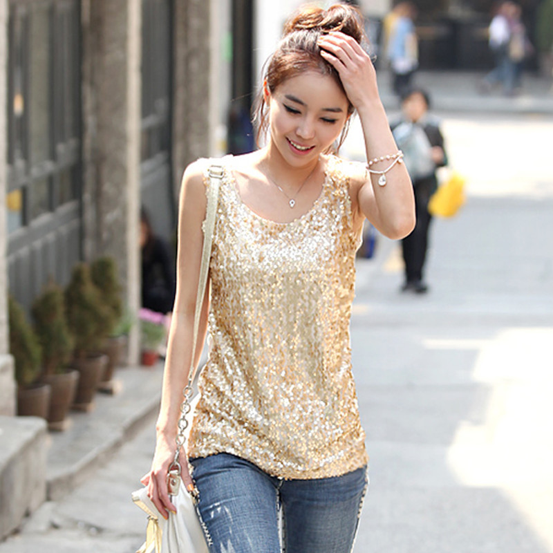 women plus size camis women's young ladies cotton tops tanks sequined basic vest shirts(China (Mainland))