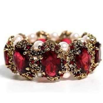 Luxury Sparkling 2015 New Fashion Elastic Simulated Pearl Crystal Charm Bangles Bracelets Women Ladies Crystal Bangle Pulseira