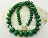 "10-18mm Natural Emerald Faceted Gems Roundel Beads Necklace 19"" Fashion jewelry"