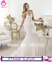 Mermaid V-neck Spaghetti straps Sleeveless Lace 2014 Elie Saab New Design Wedding Dresses Bride Gowns Custom Free Shipping DL556