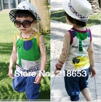 free shipping 2014 summer Cartoon elephant circleof boys clothing girls clothing baby vest capris set