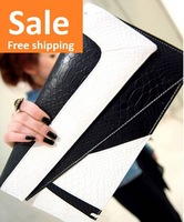 2013 Promotion Fashion Lady Serpentine PU Leather Day Clutches for Sale Black White 3 Color Block Envelope Bag  for Women