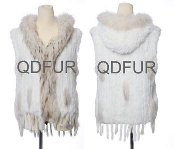 2014 Ladies' Natural Knitted Rabbit Fur Vest Waistcoat Raccoon Fur Hoody and Tassels Winter Women Fur Outerwear Coats QD663