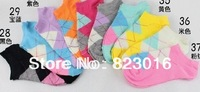 free shipping 1 lot=10pairs=20pcs pure cotton socks female candy color mix summer ship-shape