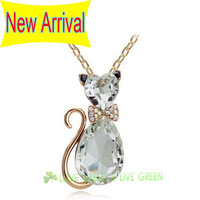 Free Shipping 2013 NEW ARRIVAL wholesale18K gold Plated Austrian crystal Cat Pendant Chain Necklace fashion jewelry 4575 gold