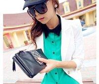 New Designer  PU Leather Fashion Handbag  Rivet Lady wallet Clutch Purse Evening Bag drop shipping