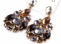 (MIN ORDER $9.9) Free Shipping Bling Facet Rhinestone Dark Brown Dangle Earring Design Jewelry christmas gift F11