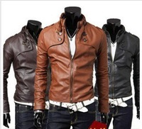 Free Shipping Men's Fashion PU Leather Short Slim Fit Top Jacket Coat Outerwear Sexy 3 color
