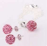 Yashow Jewelry, Fashion Shamballa Sets, Shamballa Pendants & Earrings Micro Pave CZ Disco Ball Beads,Shamballa Necklaces SHSE003