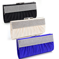 Wholesale Satin CRYSTAL Evening Clutch Cocktail Wedding Bridal Party Bag hot sale 211# black red