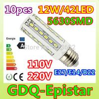 Free shipping 10pcs E27 E14 B22 12W LED Corn Light 42leds 5630SMD Bulb Lamp 110V/220V warranty 2 years Warm/Cool White